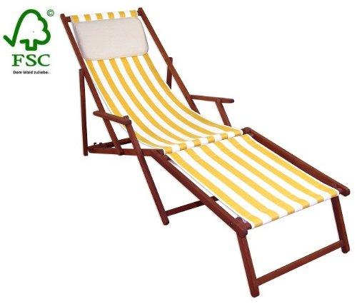 chaise longue en toile avec repose pied