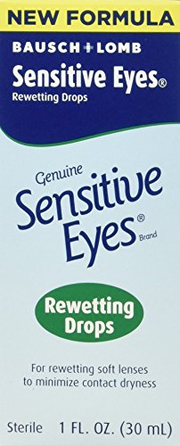 Bausch & Lomb Sensitive Eyes Rewetting Drops for Soft Contact Lenses-0.5 oz, 3 pack