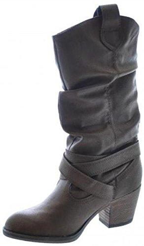 Rocket Dog Sidestep Chocolate Oliver PU Mujer Hi Tire Vaquero Zapatos Botas