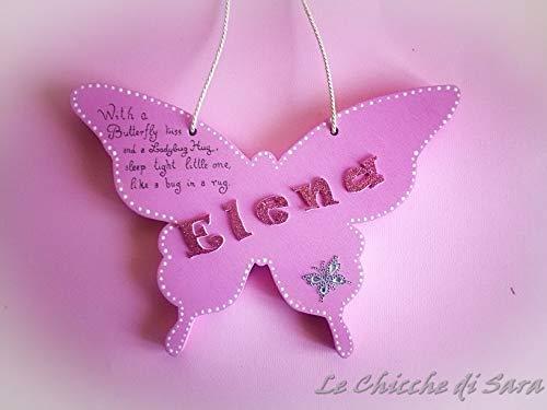 targa fuoriporta cameretta farfalla legno nome personalizzato insegna camera bimbo bimba nome da appendere regalo nascita bimba