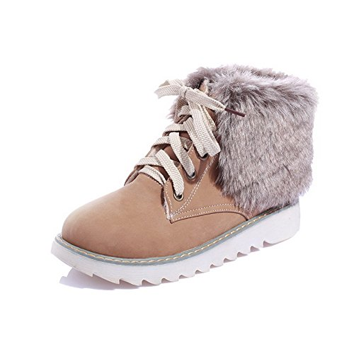 Closed apricot PU Lace Boots Low Toe Up Women's Round Solid Heels AmoonyFashion W80Hw