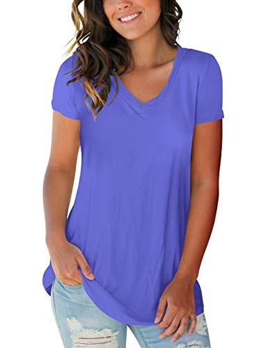Short Solid V-neck Sleeve Top - Womens Tops Solid Color V Neck Short Sleeve Basic Tee Shirts