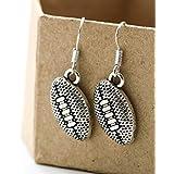 Football Earrings for Women Sterling Silver Hooks - Football Shaped Earrings for Mom - Dangle Earrings for Girls