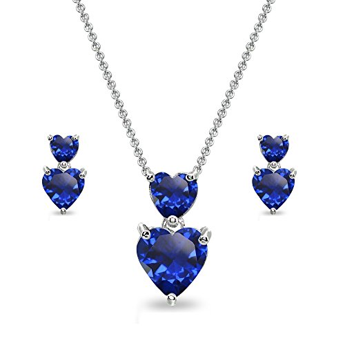 Sterling Silver Created Blue Sapphire Double Heart Friendship Necklace & Stud Earrings - Set Heart Sapphire Pendant