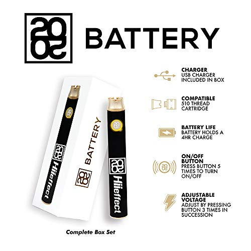 2020 Hiieffect Pen Battery for 510 Thread Cartridge with USB Charger (Best Vape Pen For 510 Cartridges)
