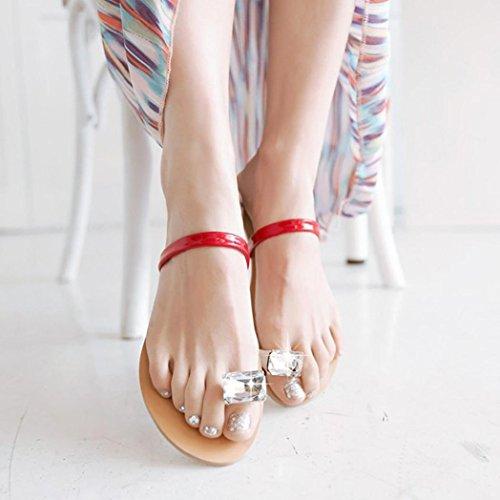 hunpta Fashion Women Rhinestone Flat Heel Anti Skidding Beach Shoes Sandals Slipper Red Yb3dYgBpD