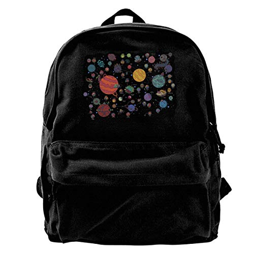 Solar System Planets Canvas Backpack for Men Women Lightweight Travel Backpack Cute Shoulder Bags Laptop Backpack