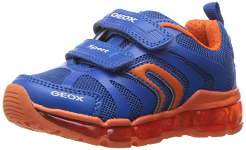 Geox Boys J Android 12 Lighted velcro strap sneaker, Royal/Orange, 29 EU/11 M US Little Kid