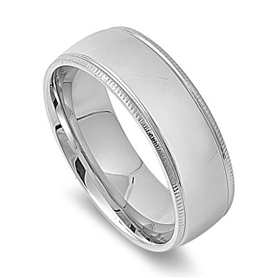 8MM HIGH Polished Ribbed Edge Stainless Steel Unisex Men Wedding Band Ring 6-14 (4mm Ribbed Wedding Band Ring)