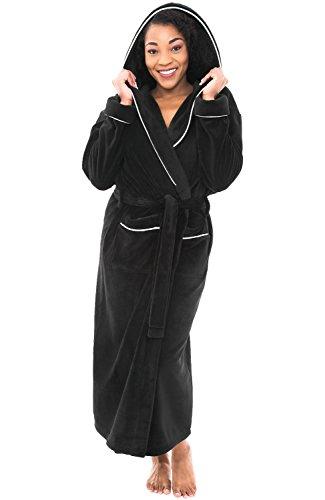long black fleece dressing gown - 3