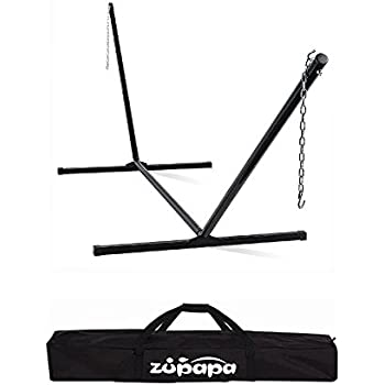 zupapa 550 lbs weight capacity heavy duty hammock stand 2 steel chains 1 carry bag fit amazon     sunnydaze 12 foot hammock stand with heavy duty steel      rh   amazon
