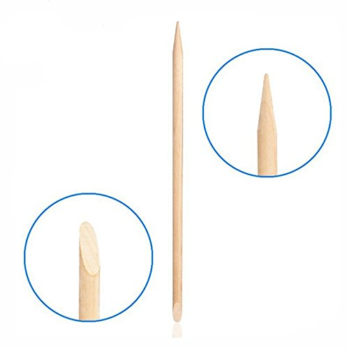 Mingyan 100PCS Nail Art Orange Wood Sticks Cuticle Pusher Remover Manicure Pedicure Tool ()
