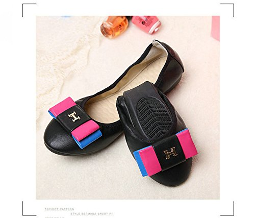 GAOLIM Rollos De Huevo Zapatos, Zapatos De Mujer Mujer Negra Plana De Tierra Suave Otoño Zapatos De Talla De Zapato, Solo Zapatos Zapatos De Barco De Cabeza Redonda Negro