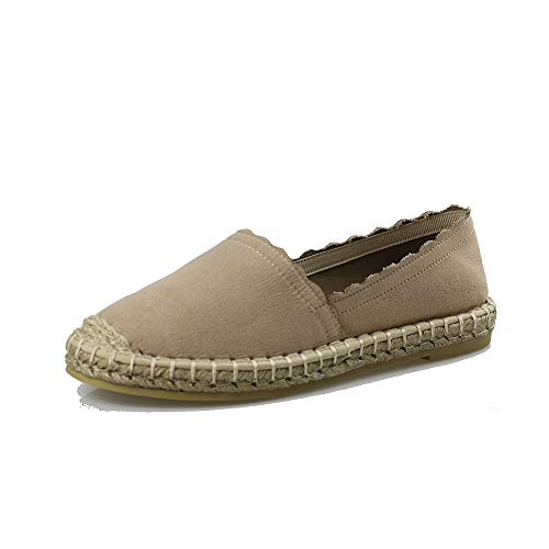 Women's Slip On Loafers Flats Espadrille Breathable Walking Shoes Casual Canvas Sneaker AL01 Taupe -
