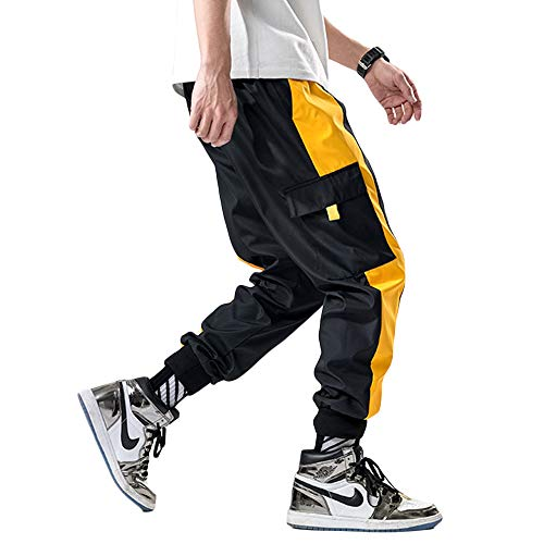 Lotmat 남성용 패션 카고 팬츠 패치워크 바지 사이드 포켓 앵클 길이 / Mens Cargo Pants Color Block Trousers with Side Pocket Man Military Tactical Work Jogger Streetwear Hip Hop Dance Wear Jogging School Bottom Hipster Ankle Length fo...