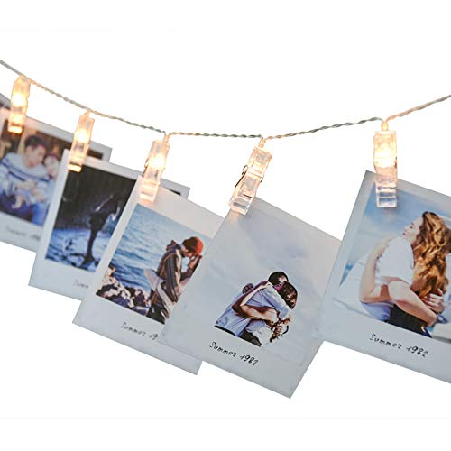 Alyattes LED Photo Clips String Lights, Battery Powered Fairy Twinkle Decorative Lights for Bedroom, Patio, Garden, Yard, Wedding Party, Home Photo Clips, Indoor Outdoor (20 LED Warm White) ()