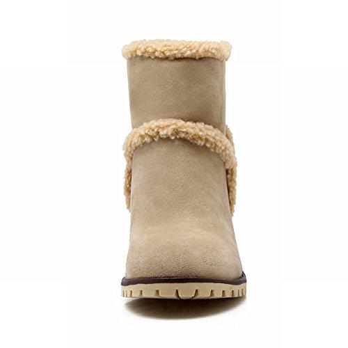 Fashion Latasa Beige Chunky Mid heel Womens Winter Boots Snow Short gOq5Of