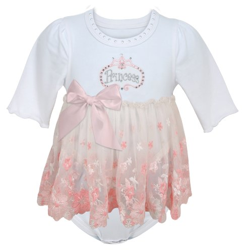 Stephan Baby Angels in Lace Pink Princess All-in-One Lace Trimmed Diaper Cover with Embroidered and Crystal Embellishments, 3-12 Months