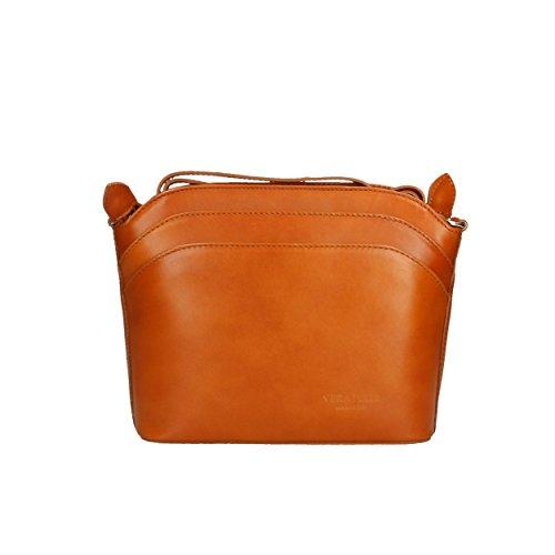 Aren - Shoulder Bag Sac Porté épaule pour Femme en cuir véritable Made in Italy - 22x19x7 Cm Marron Tan