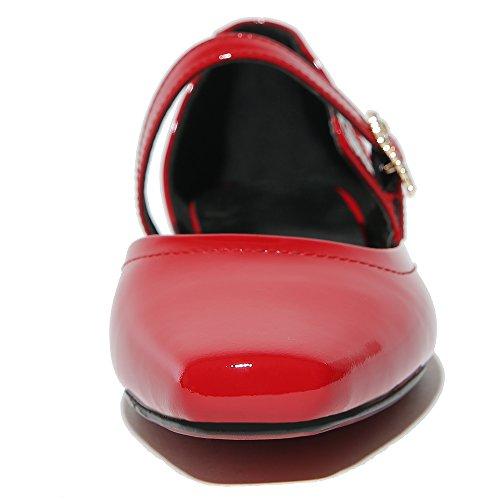 Nine Seven Cuero Moda Puntiagudos Bailarinas Planos Cómodos con Hebilla para Mujer Rojo