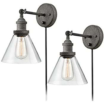 Claxy Swing Arm Wall Sconce Rustic Mycete Hardwired Amp Plug