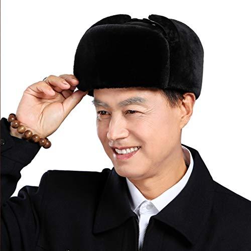 Winter Trooper Hat Men's Shearling Sheepskin Trooper Russian Ushanka Winter Fur Hat