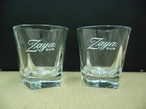 - Set of 4 Zaya Gran Reserva Rum Aged 12 Yrs Libbey Pentagon Shape Heavy Base Lowball Rocks Glasses