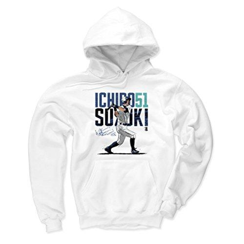500 LEVEL Seattle Baseball Men's Hoodie - Small White - Ichiro Suzuki Swing ()