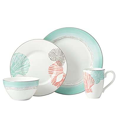 Lenox 4 Piece Sandy Point Place Setting Dinnerware Set, Multicolor - Crafted of porcelain Microwave and dishwasher safe Each place setting includes a dinner plate, accent plate, all purpose bowl and mug - kitchen-tabletop, kitchen-dining-room, dinnerware-sets - 417cWuJcKNL. SS400  -