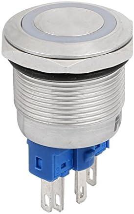uxcell 押しボタンスイッチ スイッチ DC24V スレッド直径22mm ブルー LED 6P