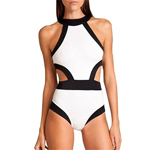 Lukitty Women's One Piece High Neck Cut Out Bikini Bathing Suits Swimwear S White