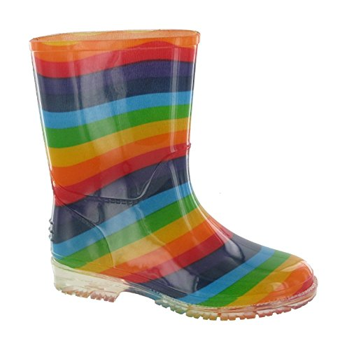 Cotswold girls Cotswold Girls Patterned PVC Kids Childrens Welly Wellington Pink Rainbow PVC UK Size 10.5 (EU 29) by Cotswold
