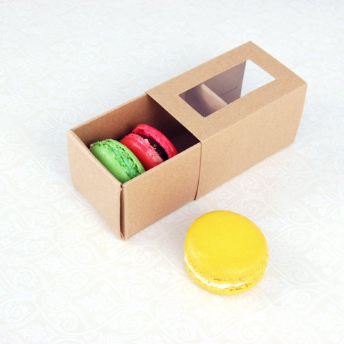 25 Sets of Kraft Brown Boxes for 3 Macarons ($1.30 Per Set of Macaron Box) by Cheerico