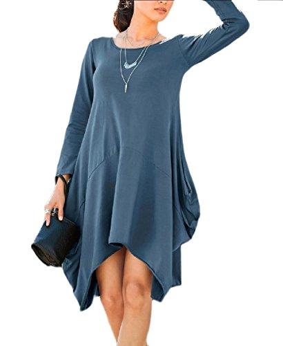 Coolred-femmes À Manches Longues Robes Surdimensionnées Base Automne Ourlet Asymétrique Bleu De Lac