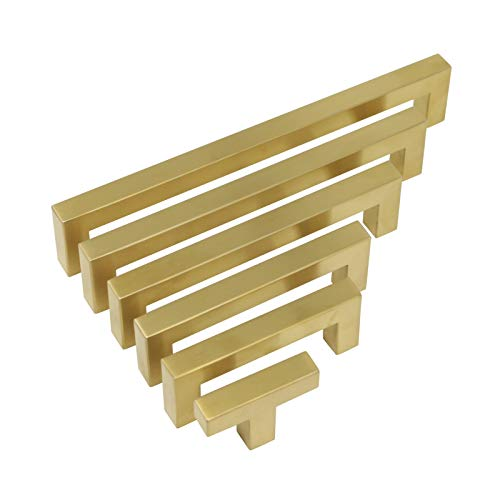 30 Pack Probrico Hole Centers Hole Centers 5 inch (128mm) Gold Square Corner Bar Door Cabinet Handles Drawer Pulls Kitchen Cupboard Knobs 1/2 in Width Stainless Steel
