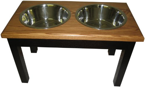 Classic Pet Beds 2-Bowl Traditional Style Ash Pet Diner, Large, Espresso/Cherry