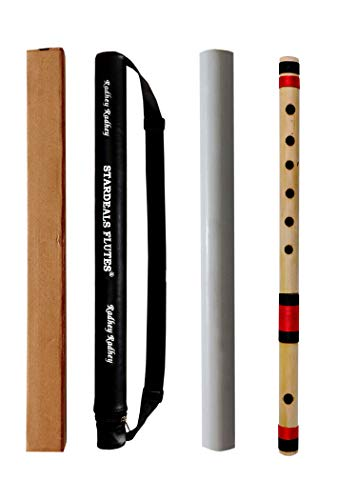 STARDEALS Flutes C Sharp 6 Hole Bamboo Flute Bansuri With Free Flute Bag (Natural Brown, 17 Inch)