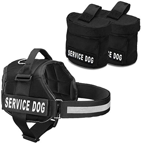 Industrial Puppy Service Dog Vest with Hook and Loop Straps and Detachable Backpacks | Harnesses in 7 Sizes from XXS to XXL | Service Dog Harness Features Reflective Patch and Comfortable Mesh Design ()