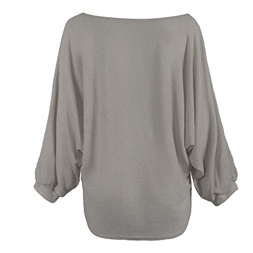 Manches Tops Gris Bigood Pull Cardigan Large Lache Hauts shirt Col Chauve Rond Sweat souris Sweat qptvp6r