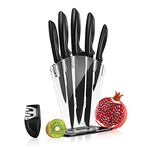 Piece Kitchen Knife Set – Stainless Steel Kitchen Precision Knives Set w/ 6 Steak Knives & Bonus Sharpener, Scissors…