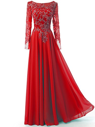 Sleeves Fromal Gown Red Solovedress Long Elegant Evening Backless Prom Women's Chiffon Dress t7qwI1