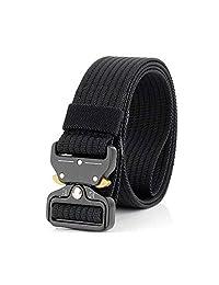 Heilsa Cinturón táctico para Hombres y Mujeres, Estilo Militar Correa de Nylon Cinturón de Tela para Exteriores con Hebilla de Metal de liberación rápida
