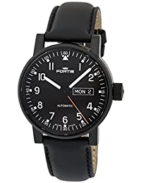 Fortis Spacematic Pilot Professional Black PVD Mens Strap Watch Day Date 623.18.71.L.10
