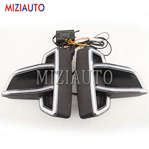 MZORANGE 1 Pair LED Daytime Running Light For Toyota Hilux Revo Rocco 2018 2019 DRL Fog Lamp Turn Signal Light Headlamp White&Yellow Light