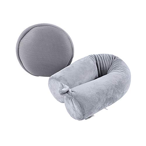 Cotton World Li Neck Pillow for Travel Home, Portable Head Cervical Support Rest Cussion Twist Adjustable Bendable Memory Foam Roll Pillow for Flight/Road Trips, Office Nap, Camping - Grey