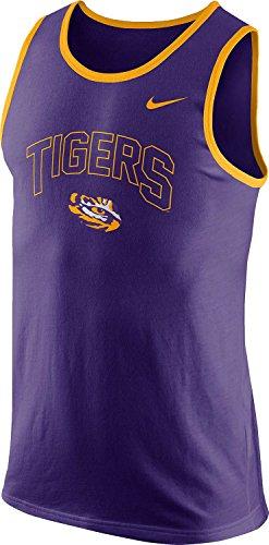 Lsu Tigers Purple Block (Nike LSU Tigers Louisiana State College Cotton Arch Tank Top Sleeveless Shirt (XL, Purple))