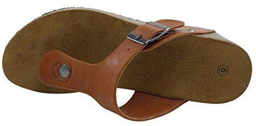 Cambridge Select Damesgesp, T-strap Met Gesp, Teenslippers Platform Wig Sandaal Bruin