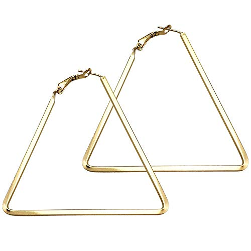 Cereza Women Girls Stainless Steel Simple Geometric Triangle Hoop Fashion Earrings (Triangle-Gold)