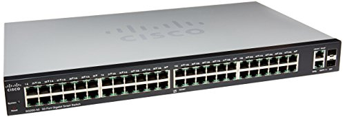 Cisco Small Business 200 Series SLM2048T-NA Smart SG200-50 Gigabit Switch 48 10/100/1000 Ports, Gigabit Ethernet Smart Switch, 2 Combo Mini-GBIC Ports from Cisco