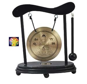 Zen Art Brass Feng Shui Desktop Gong, Buddha Gong, and A Free Tibetan Mantra Prayer Magnet